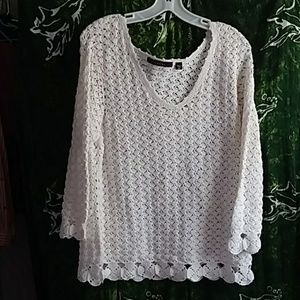 FEVER blouse ramie&cotton white XL